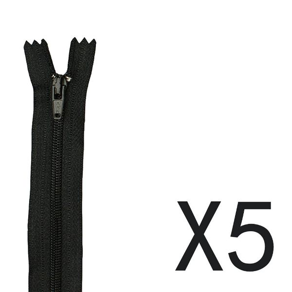 Nylon Metal Zipper 23cm Long (5 Pack)