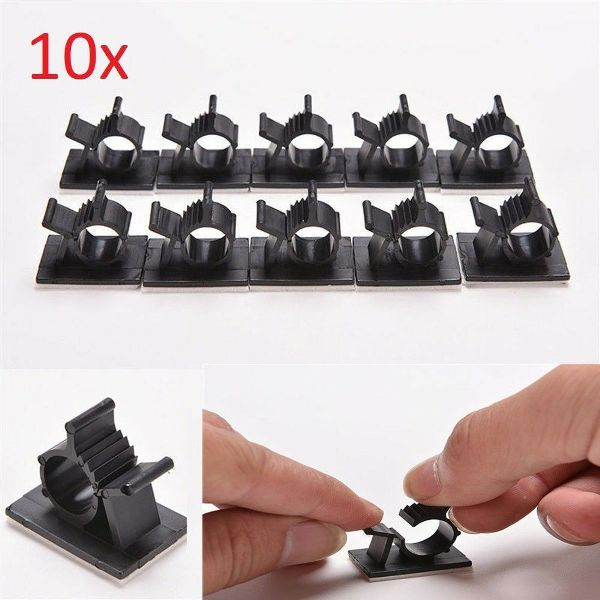 10x Cable Holder Clips Adhesive Clamp