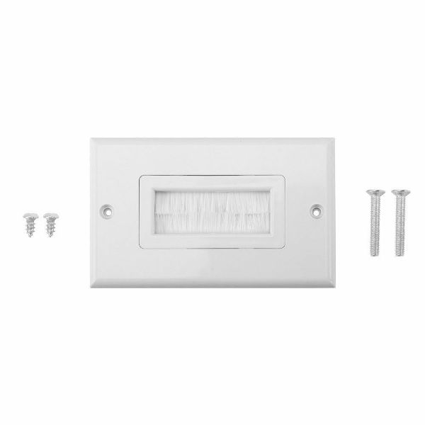 White Brush Wall Plate Bristles